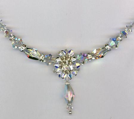 Hand crafted custom swarovski crystal beaded bridal necklace by mp custom made custom swarovski crystal beaded bridal necklace aloadofball Choice Image