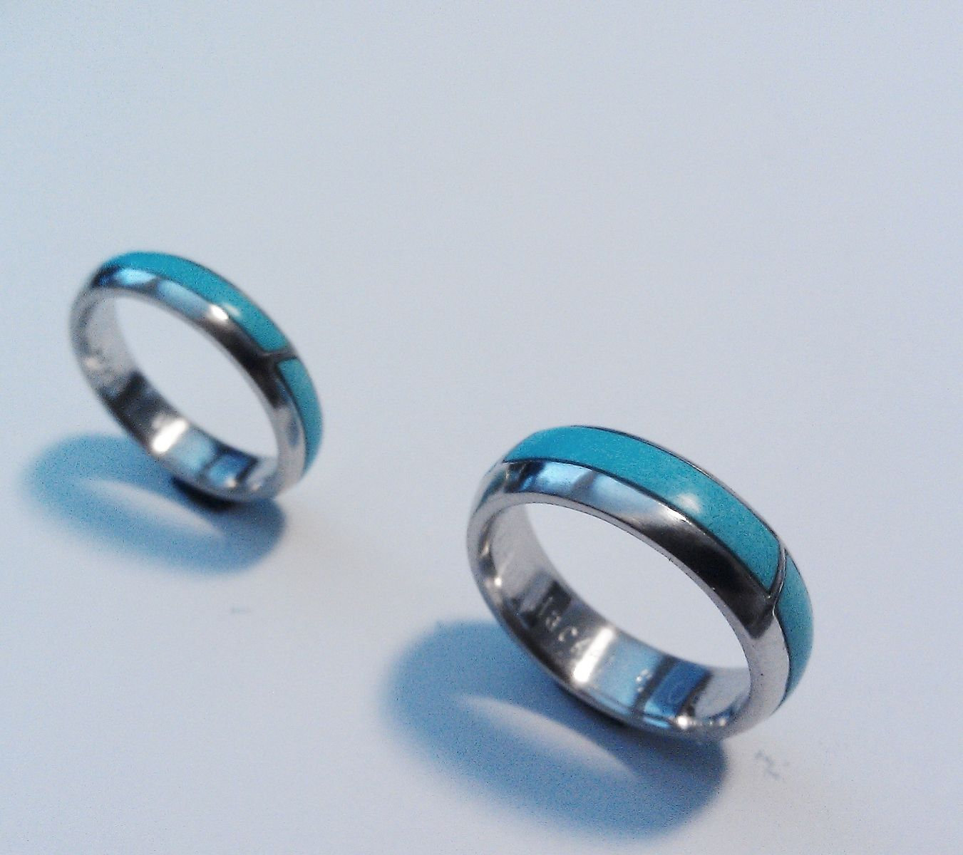Custom Made Two Platinum Wedding Bands, Inlaid With Turquoise Strips