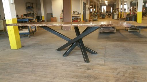 Custom Made Walnut Table With Cross Over Base
