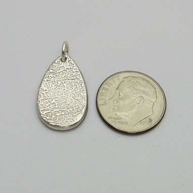 Custom Made Personalized Silver Fingerprint Teardrop Charm Or Pendant