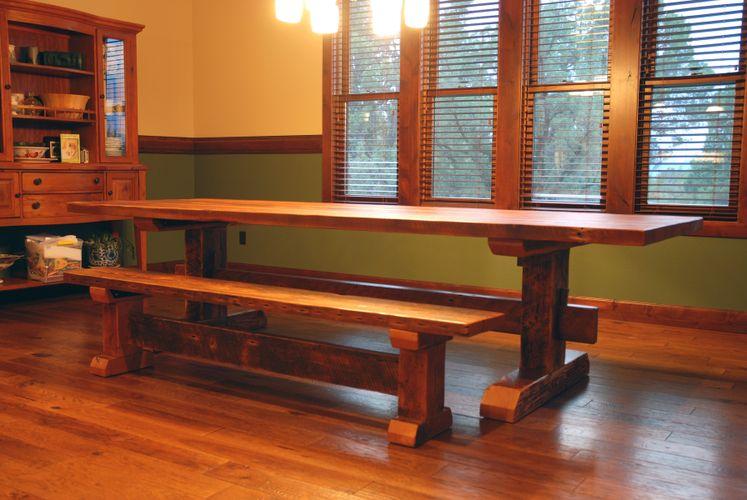 custom reclaimed timber frame trestle dining table farm table by jonathan january custommadecom