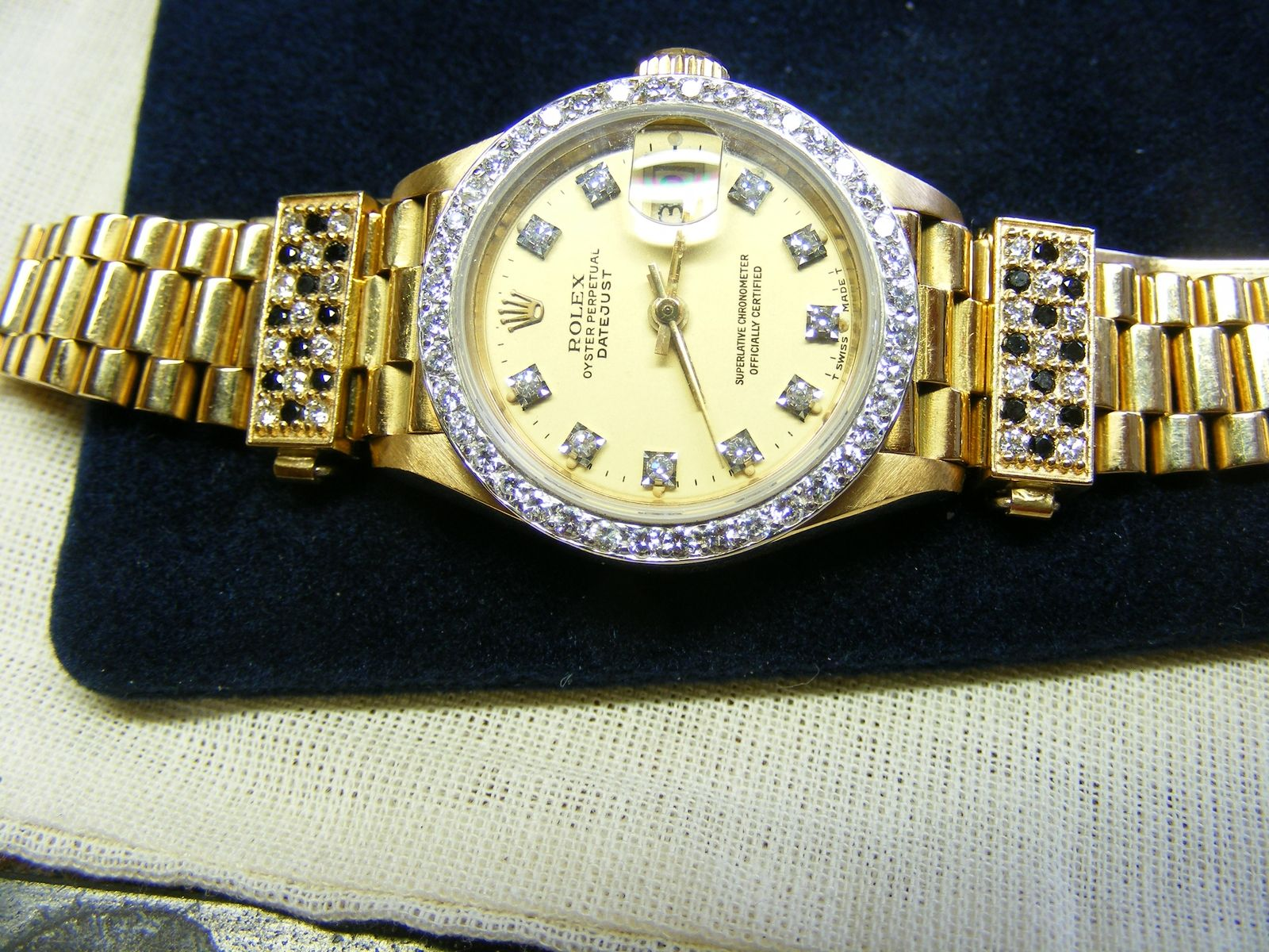 dial an is ladies steel a genuine added markers watch band diamond jubilee gold authentic with rolex white o custom datejust watches this stainless itm made silver