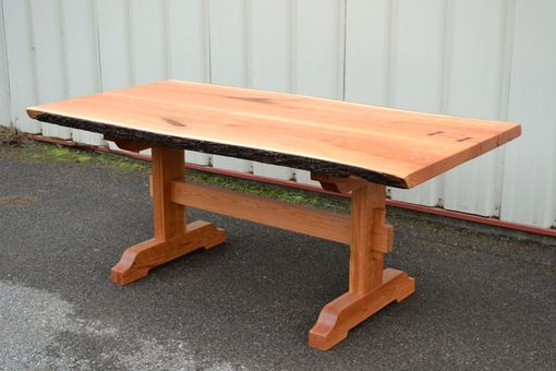 Custom Made Live Edge Cherry Dining Table With Trestle Base