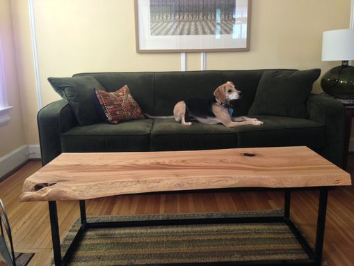 Custom Made Live Edge Coffee Table With Custom Metal Base.