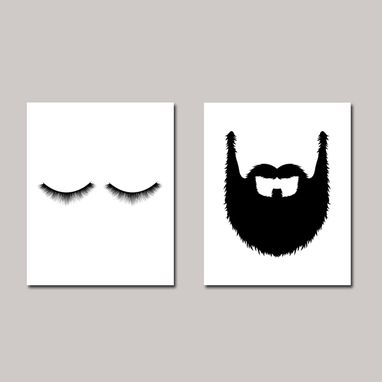 Custom Made Lashes Beard Couple Bedroom Canvas Wall Art Set Of 2
