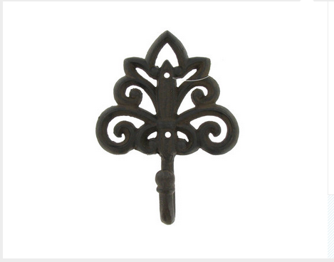 Custom Made Brown Cast Iron Hook With Floral Design