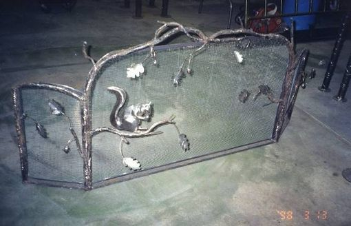 Custom Made Fire Screen With Squirrel And Oak, Fabricated Metal Sculpture