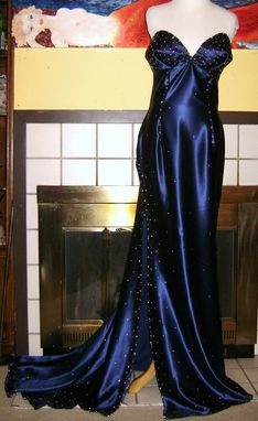 Custom Made Jessica Rabbit Style Silk Satin Gown With Swarovski Crystals - Any Colors, Custom Couture Fit