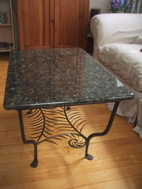 Custom Made Forged Iron Granite Top Fern Table