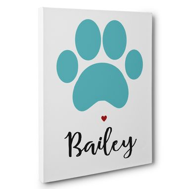 Custom Made Dog Paw Print Dog Lover Wall Art Canvas Gift