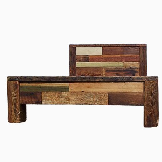 Custom Made Reclaimed Wood Bed Frame, Colorful Wood Quick Patchwork - Buy A Custom Reclaimed Wood Bed Frame, Colorful Wood Quick