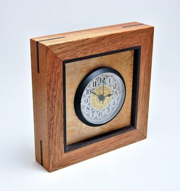 Custom Made Mahogany, Sycamore, And Rosewood Desk/Mantel Clock