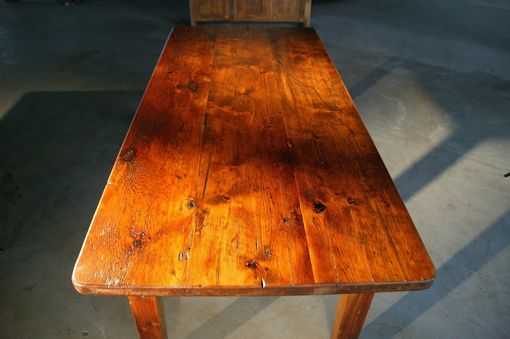 Custom Made Thick Top Farm Tables With Brown Cherry Finish: Wood Dining Room Furniture