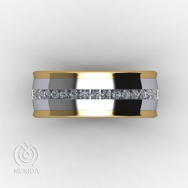 Custom Made Two-Tone Channel Set Diamond Wedding Band