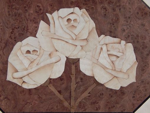 Custom Made Jewelry Box With Roses Inlaid By Hand