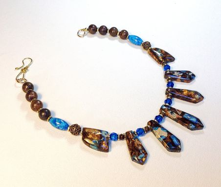 Custom Made Blue Jasper And Bronzite Choker Necklace