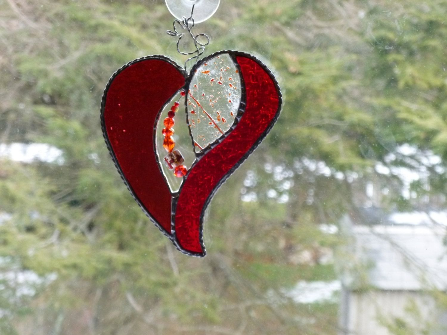 Buy Hand Crafted Sparkling Red Stained Glass Heart With