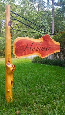 Custom Made Live Edge Hanging Sign And Post