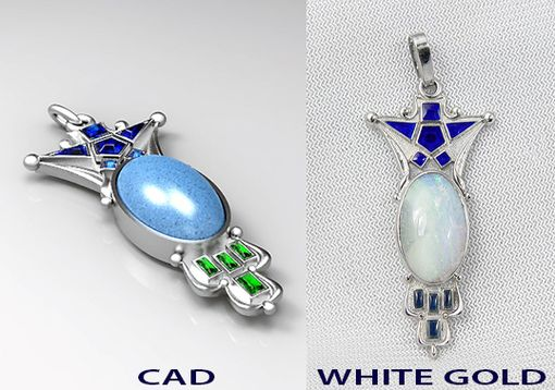 Custom Made 14k White Gold Charm With Opal And Enamel