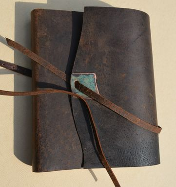 Custom Made Distressed Pigskin Journal Bound Adventure Notebook Leather Sketchbook Turquoise Gift