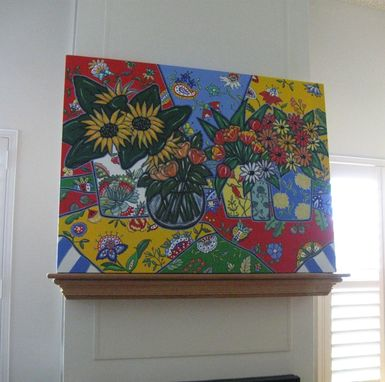 Custom Made Sunflowers Acrylic Still Life, Original Painting On Canvas