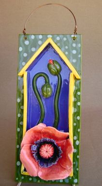 Custom Made Pink Poppy 3-D Ceramic Hanging Tile Perfect For Mothers Day