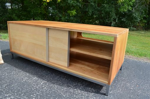 Custom Made Modern Cherry And Berch Wood With A Steel Base Entertainment Stand