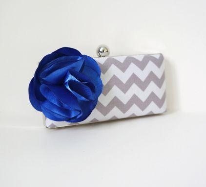 Custom Made Gray Clutch Purse With Chevron Print