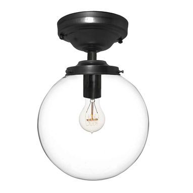 "Custom Made 8"" Clear Blown Glass Globe Flushmount Light- Black"