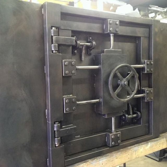 Buy a Hand Made Vintage Vault Door And Wall Custom Made, made to order from  industrial evolution furniture co | CustomMade.com - Buy A Hand Made Vintage Vault Door And Wall Custom Made, Made To