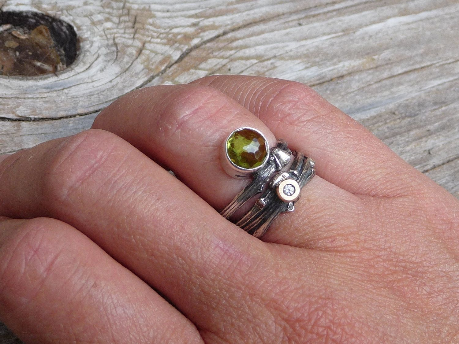 Handmade Sterling Silver Peridot Twig Ring. by Monique Van Wel ...