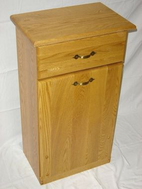 Hand Crafted New Solid Oak Wood Kitchen Garbage Bin