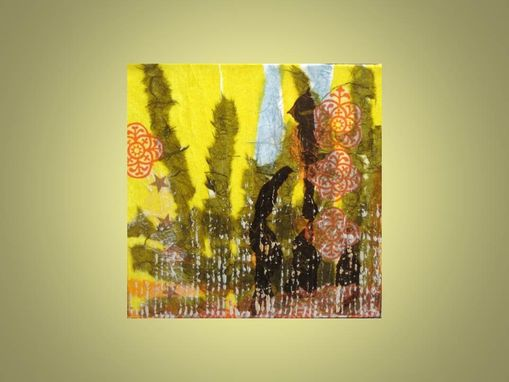 "Custom Made Original Collage Abstract -10""X10"" Yellow Green Brown By Devikasart"