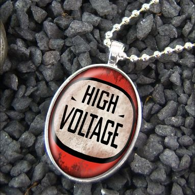 Custom Made Danger High Voltage Sign Grunge Punk Necklace 344-Son