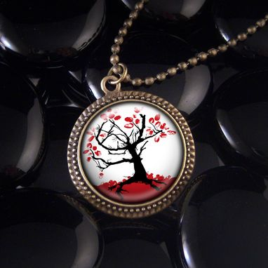 Custom Made Red Japanese Tree Antique Bronze Pendant Necklace 162-Brn