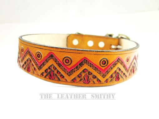 Custom Made Southwestern Leather Dog Collar 1 Inch Wide, Hand Tooled And Painted