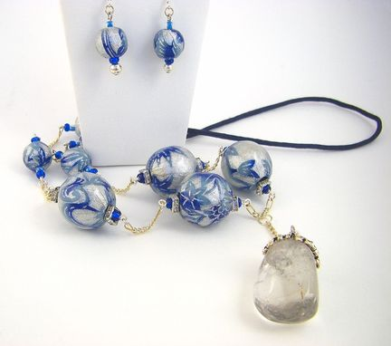 Custom Made Icy Blue Washi Bead Necklace And Earrings Set