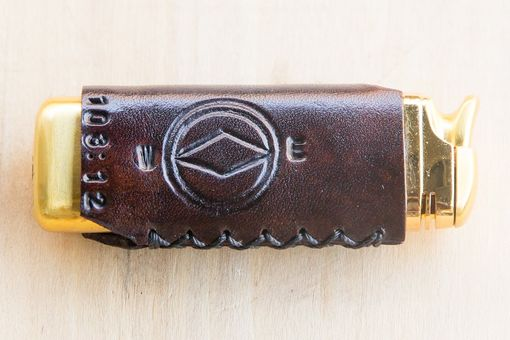 Custom Made East To West Leather Wrapped Lighter Tooled Initials Monogram And Scripture