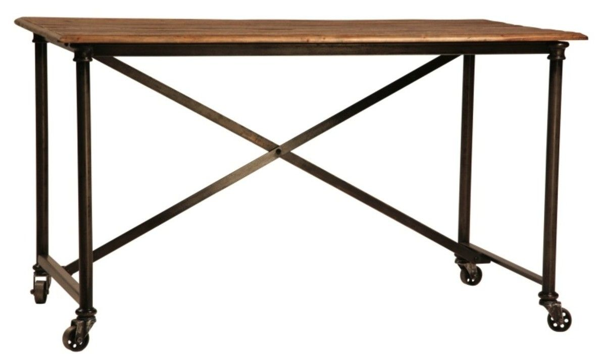 Hand made postobello industrial metal and rustic wood desk