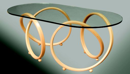Custom Made Modern, Oval Glass Top Alder Or Mahagany Infinity Accent Coffee Table