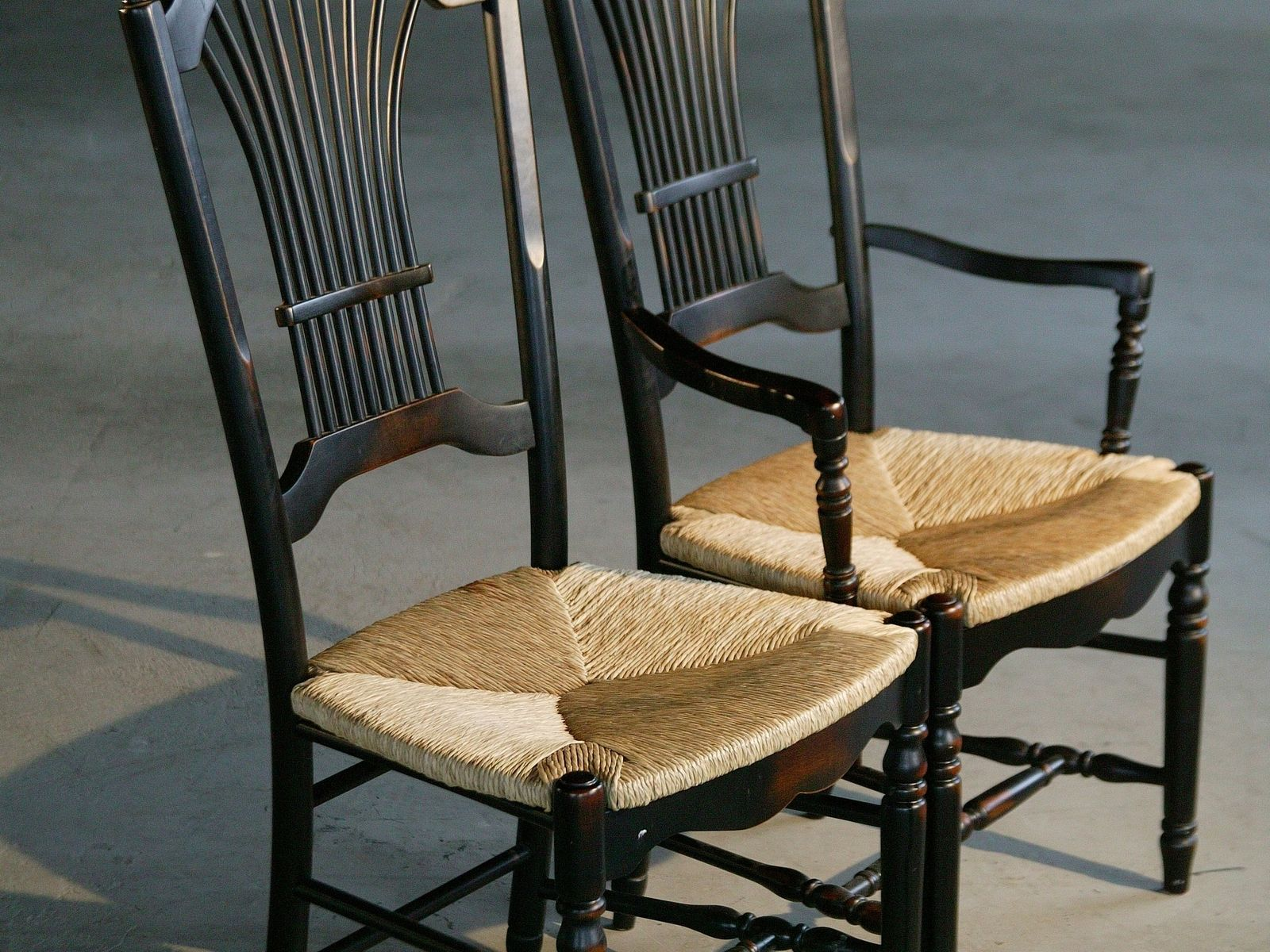 Custom Black Fan Back Style Dining Chairs With Rush Seat by