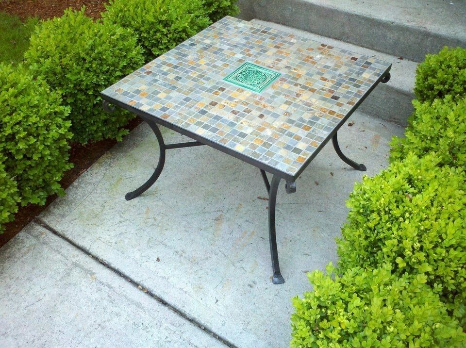 Brilliant Custom Made Slate Wrought Iron Table By On The Level Beatyapartments Chair Design Images Beatyapartmentscom