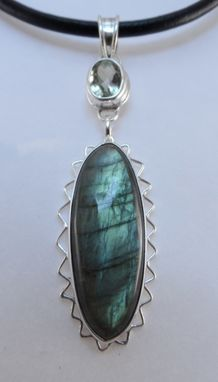 Custom Made Green Amethyst, Labradorite  And Sterling Pendant