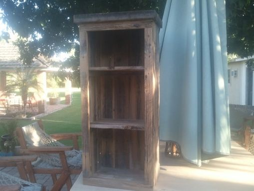 Custom Made Wooden Weathered Open Cabinet