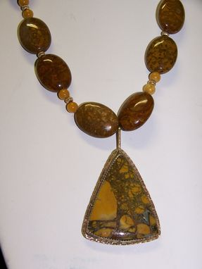 Custom Made Necklace Of Brown Jasper With Amphibian Eggs, Florentine Gold Triangle Pendant