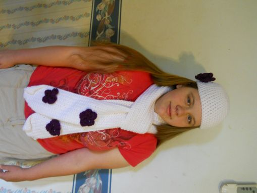 Custom Made 30% Off, End Of Winter Sale, White And Purple Scarf And Beanie Hat Set