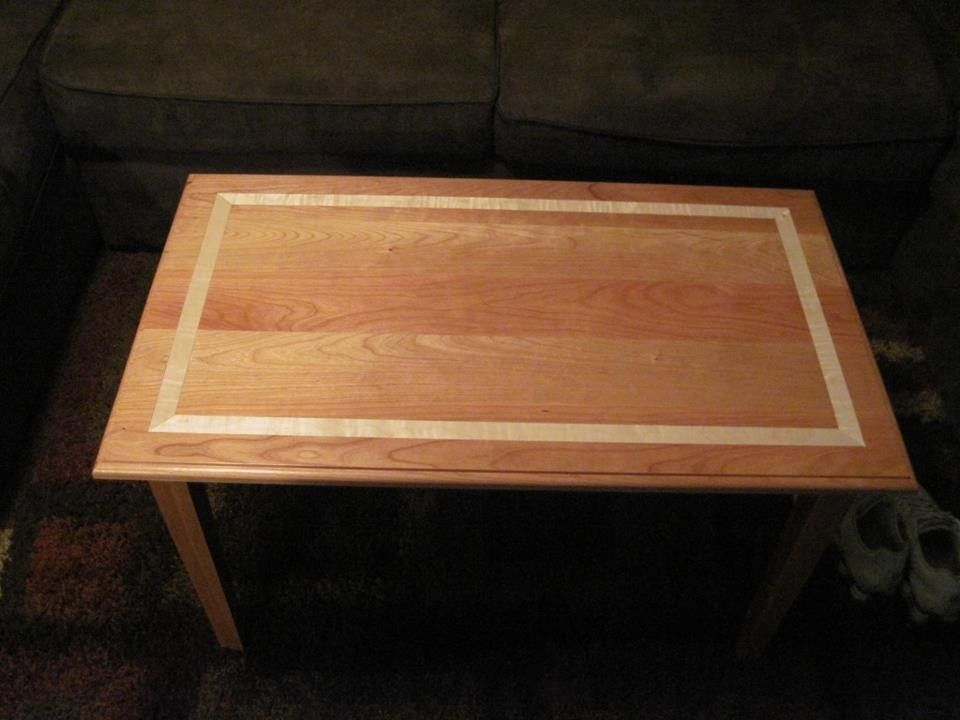 Hand Made Cherry With Curly Maple Banding Coffee Table By