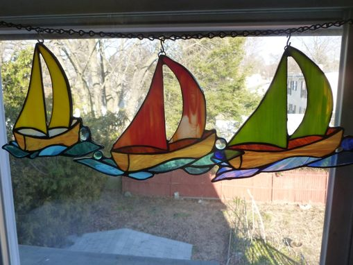 Custom Made Stained Glass Sailboat Light Catcher