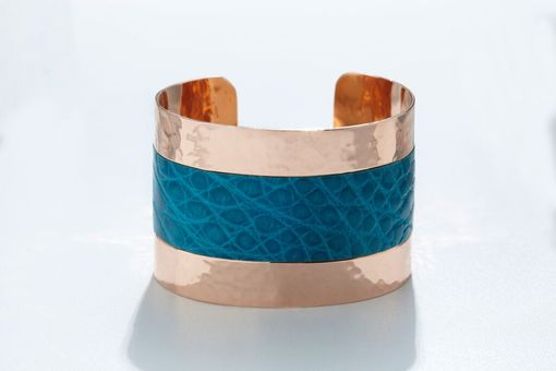 Custom Made Genuine Alligator Luxury Cuff/Bracelet With Hammered Copper Finish In Turquoise (Blue)