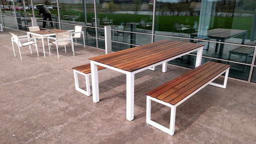 Custom Made Reclaimed Brazilian Ipe And Steel Patio Table And Bench Set